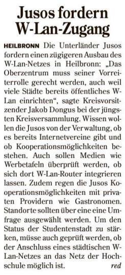 Artikel in der Heilbronner Stimme